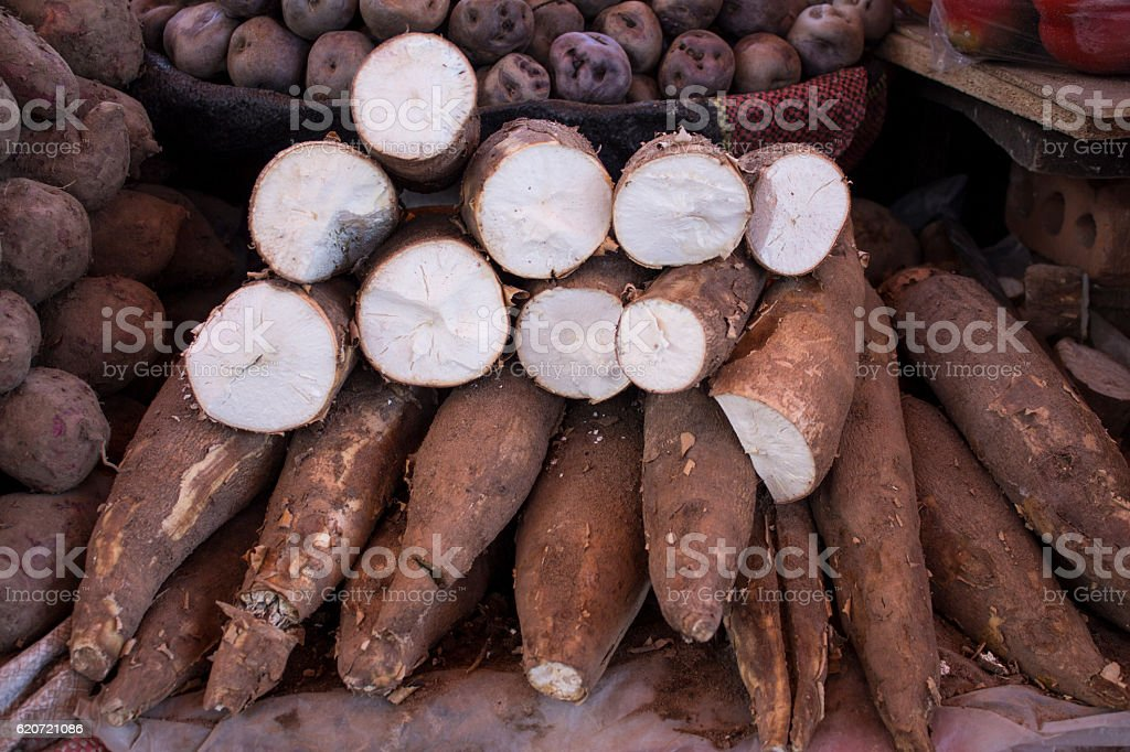 Cassava roots (Yuca) on a market (San Camilo), Arequipa, Peru stock photo