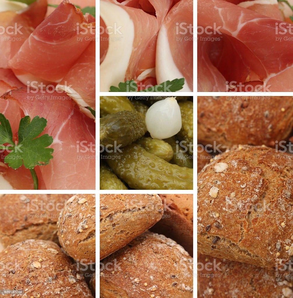 Casse croûte - Jambon cru - Cornichons stock photo