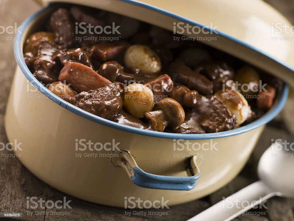 Casserole Dish With Beef Bourguignon royalty-free stock photo