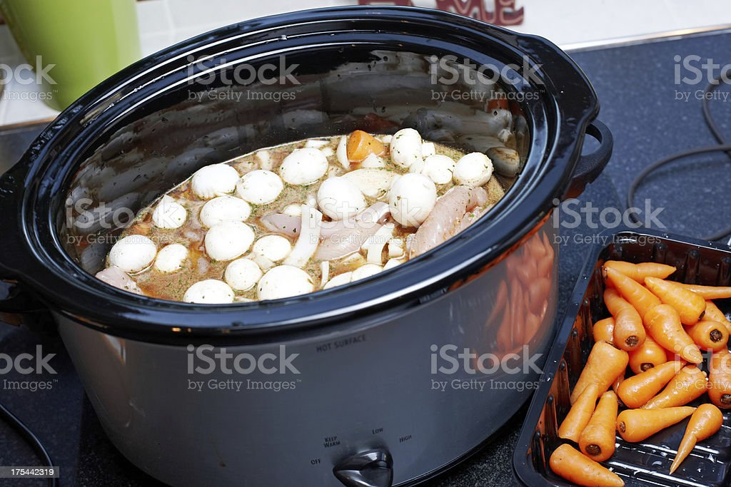 Casserole in slow cooker stock photo