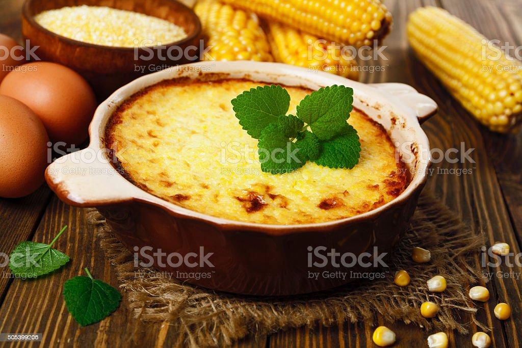 Casserole of corn groats stock photo