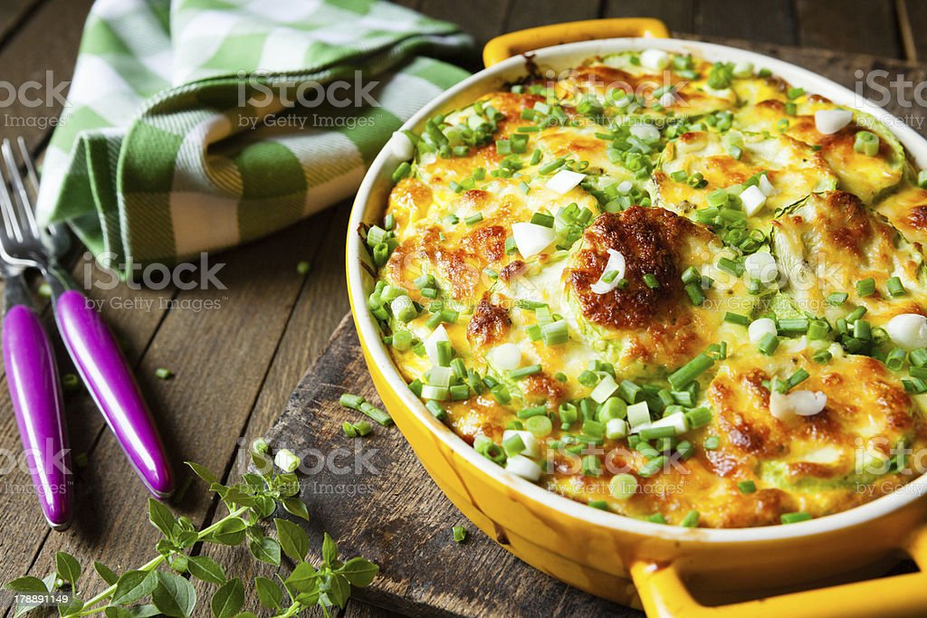 casserole of Fresh vegetable marrows stock photo