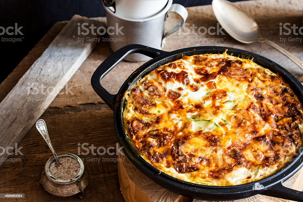 casserole of rice, vegetables and zucchini stock photo