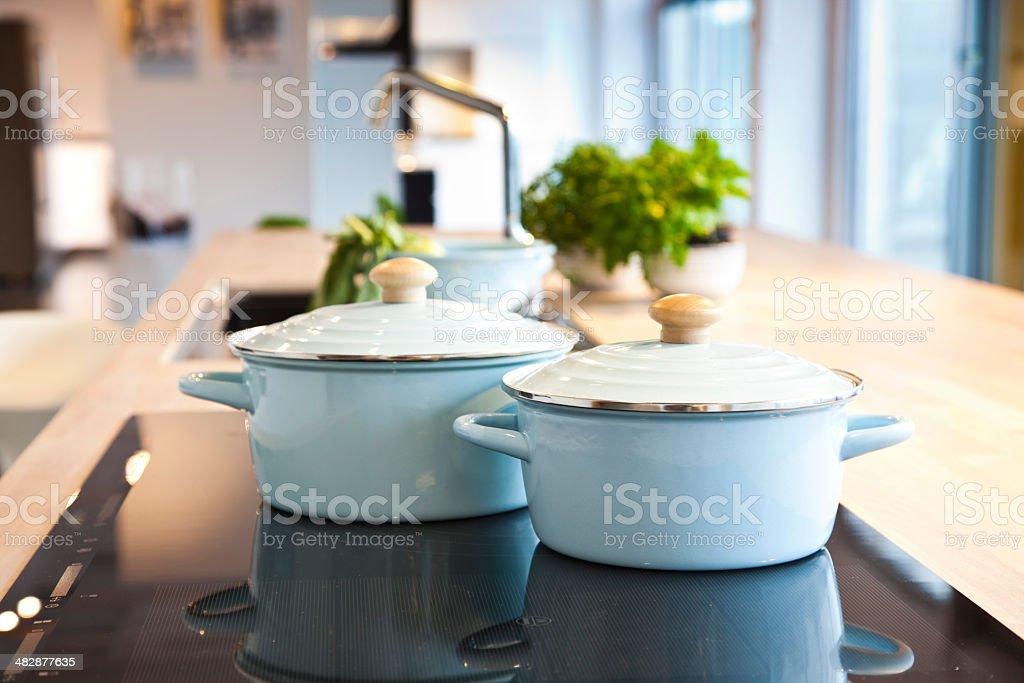 Casserole On A Ceramic Stove stock photo