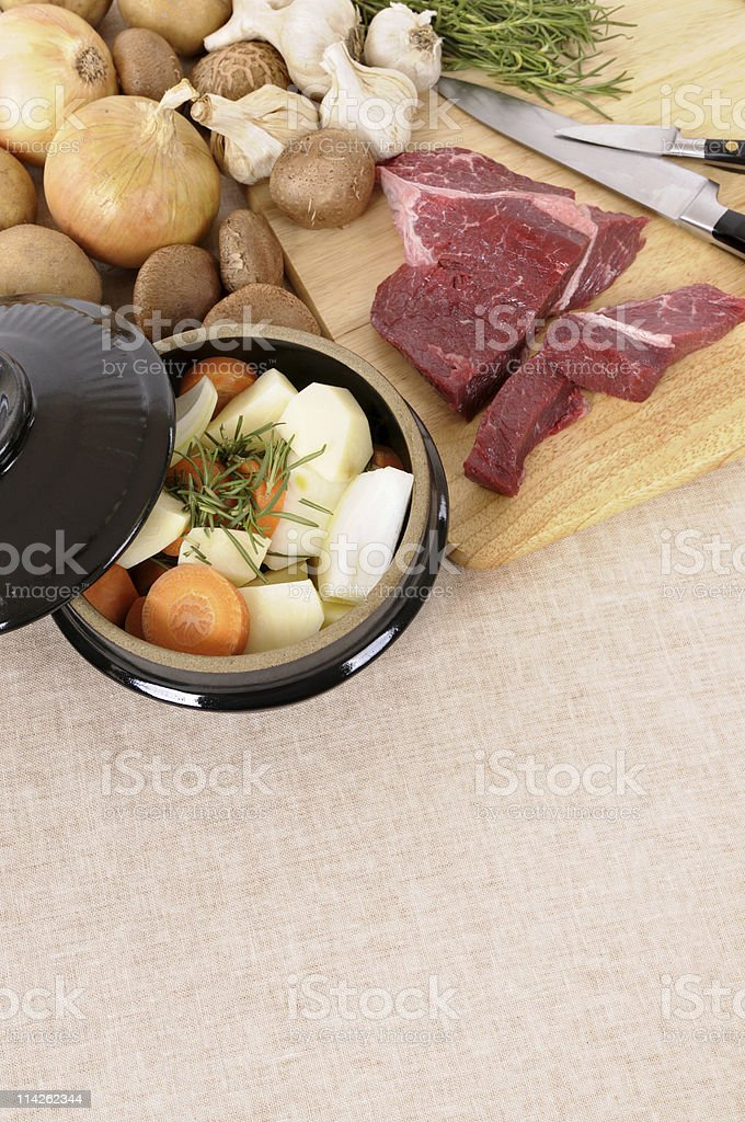 Casserole pot with beef and vegetables royalty-free stock photo