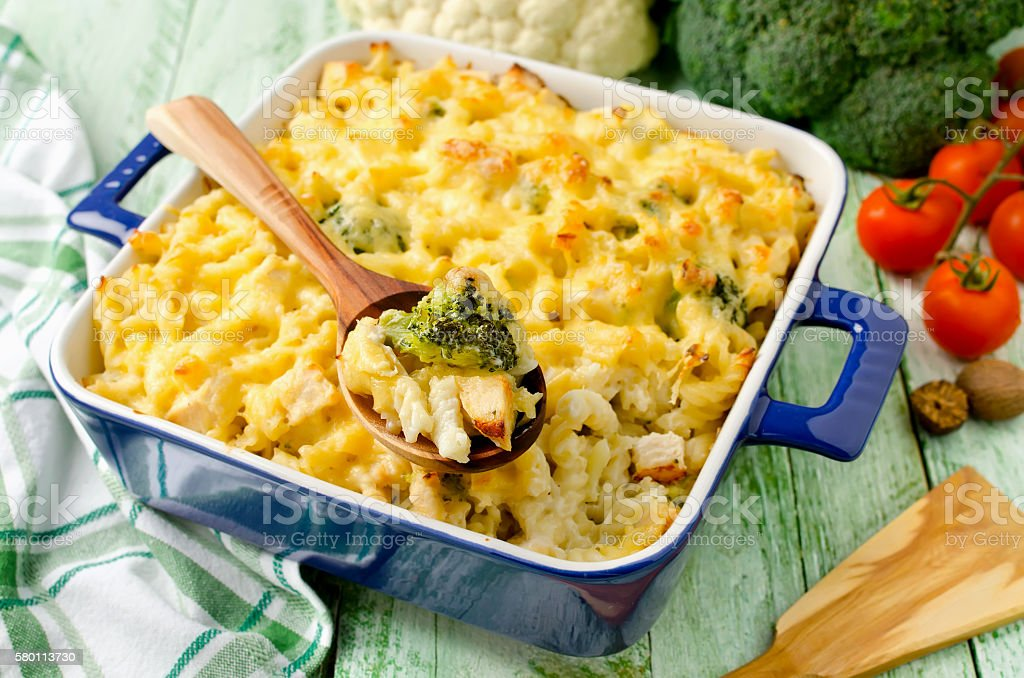 Casserole with pasta, chicken and broccoli stock photo
