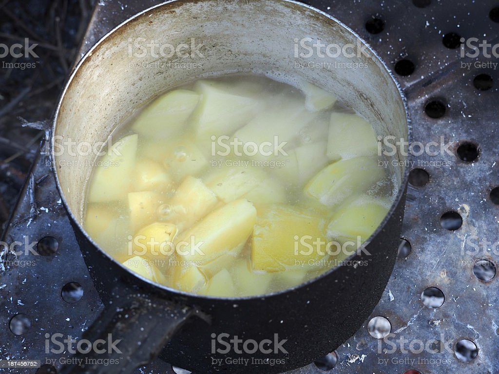 casserole with potatoes on the fire royalty-free stock photo