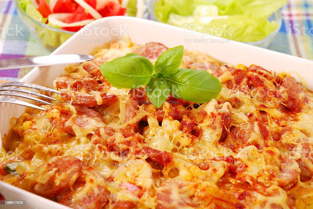 casserole with potato,sausage and onion stock photo