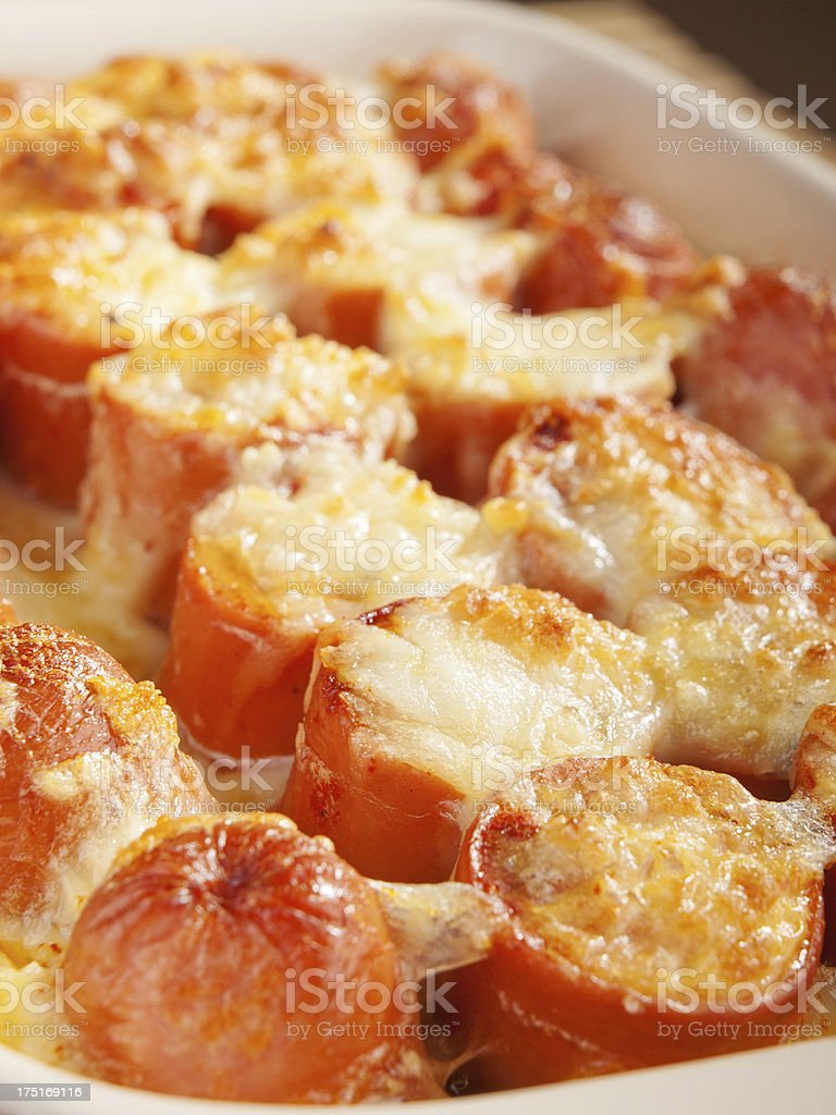 Casserole with sausage and mozzarella royalty-free stock photo