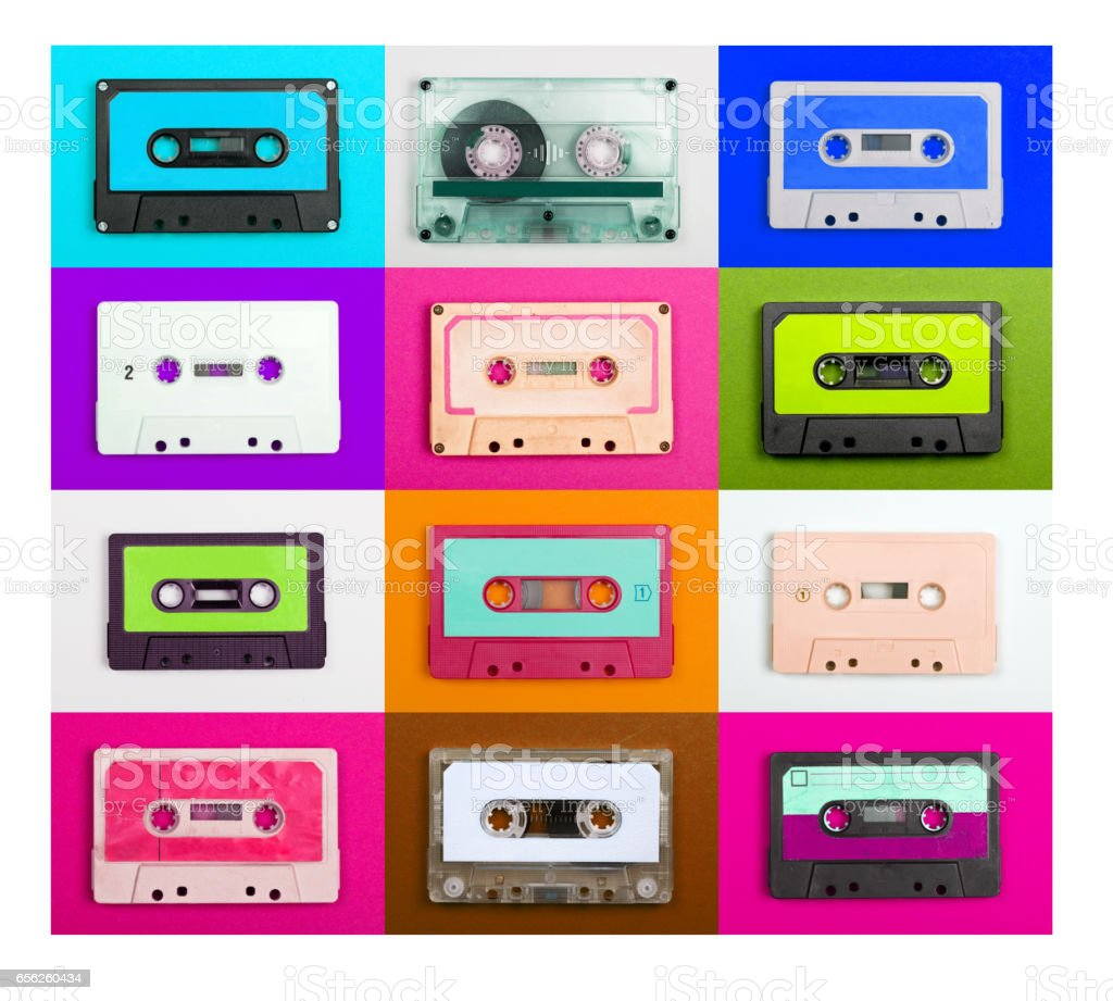 Cassette Tape Collection –  Vintage audio tapes stock photo