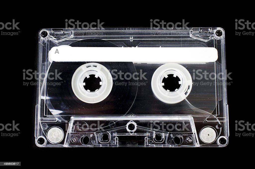 Cassette tape on black background stock photo