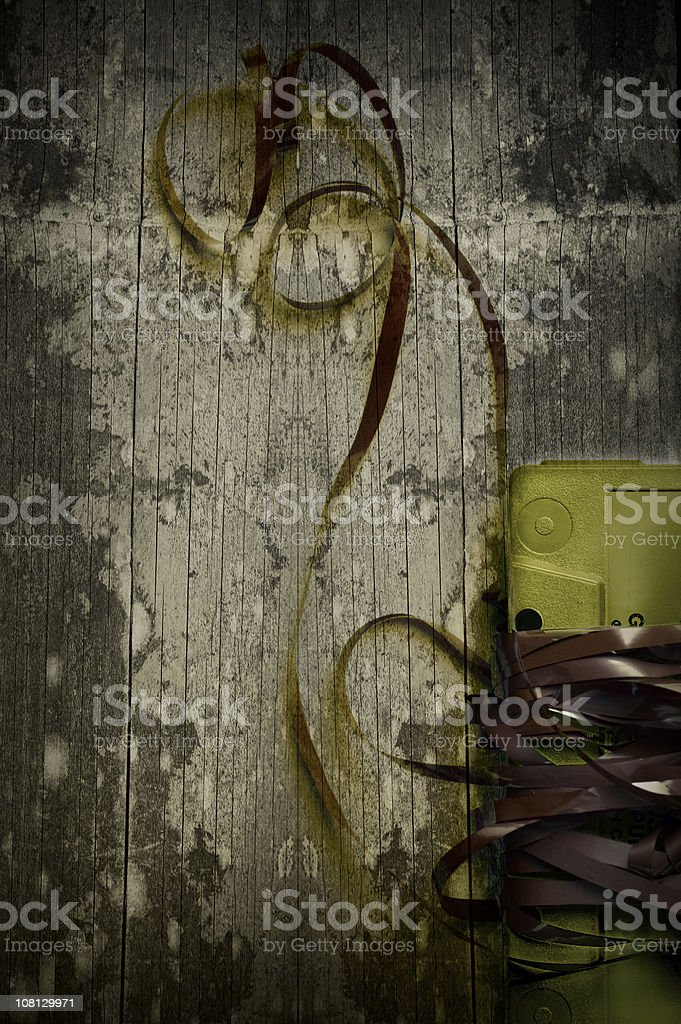 Cassette Tape on Wood Background stock photo