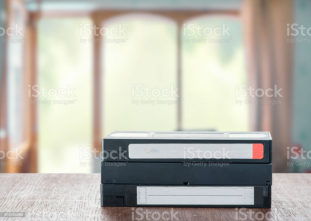 VHS cassettes on the table stock photo