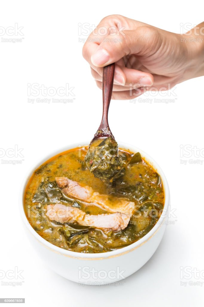 cassia leaves curry with coconut milk stock photo