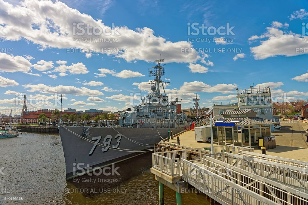 USS Cassin Young ship moored near pier in Boston stock photo