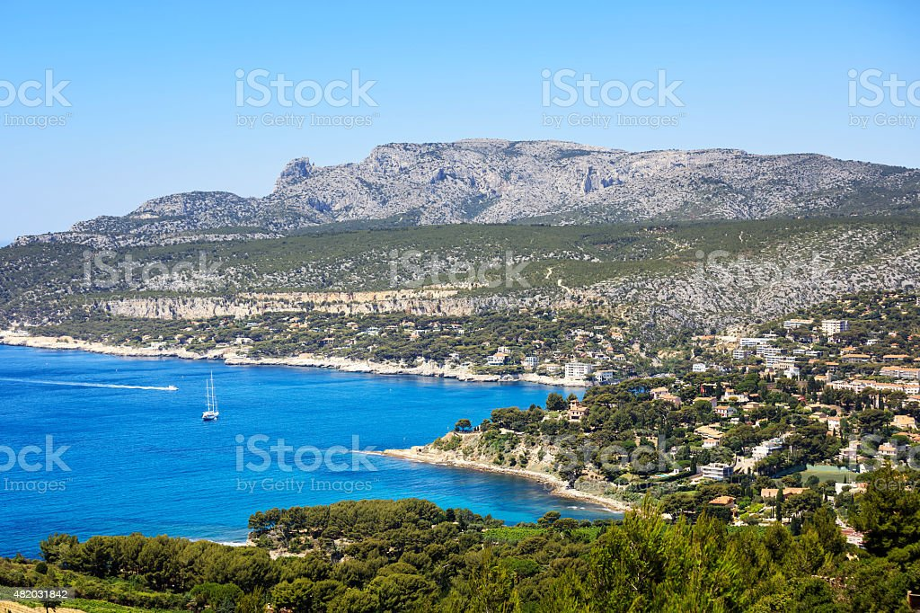 Cassis bay and sea. Cote Azur, Provence, France. stock photo