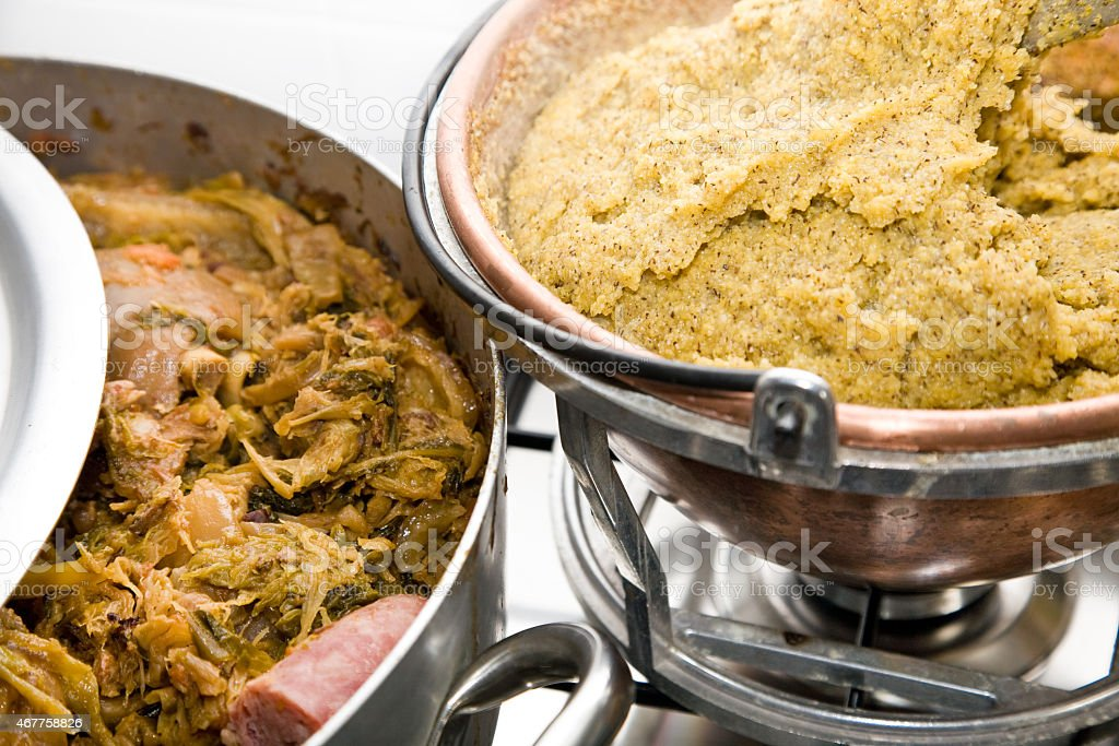 Cassoeula and polenta stock photo