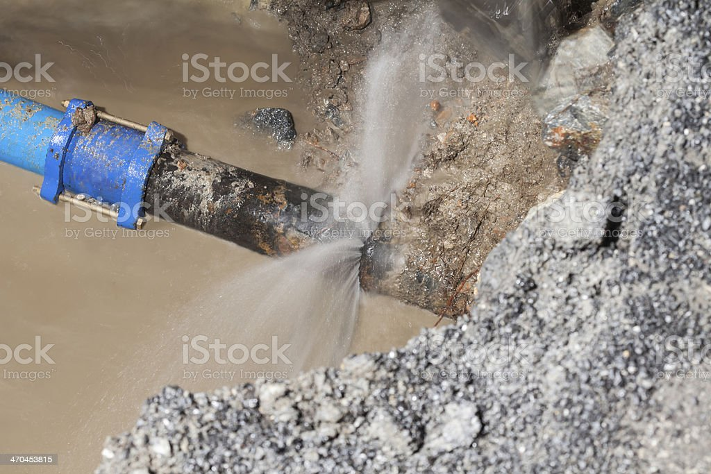 cast iron, 150 mm water pipe leak stock photo