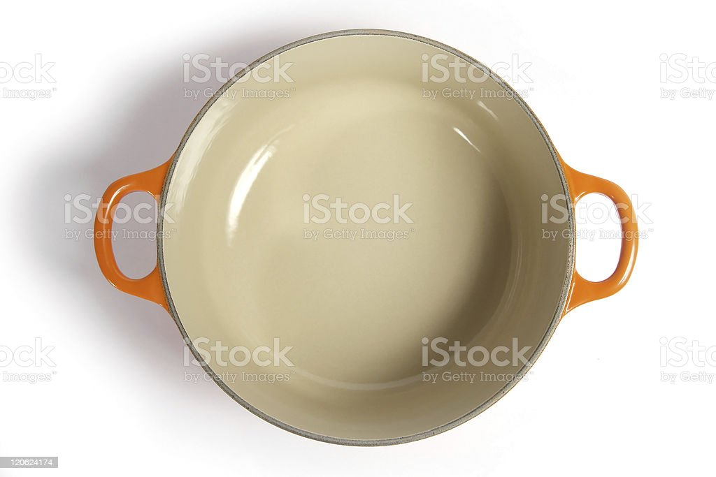 Cast iron cooking pot, top view. stock photo