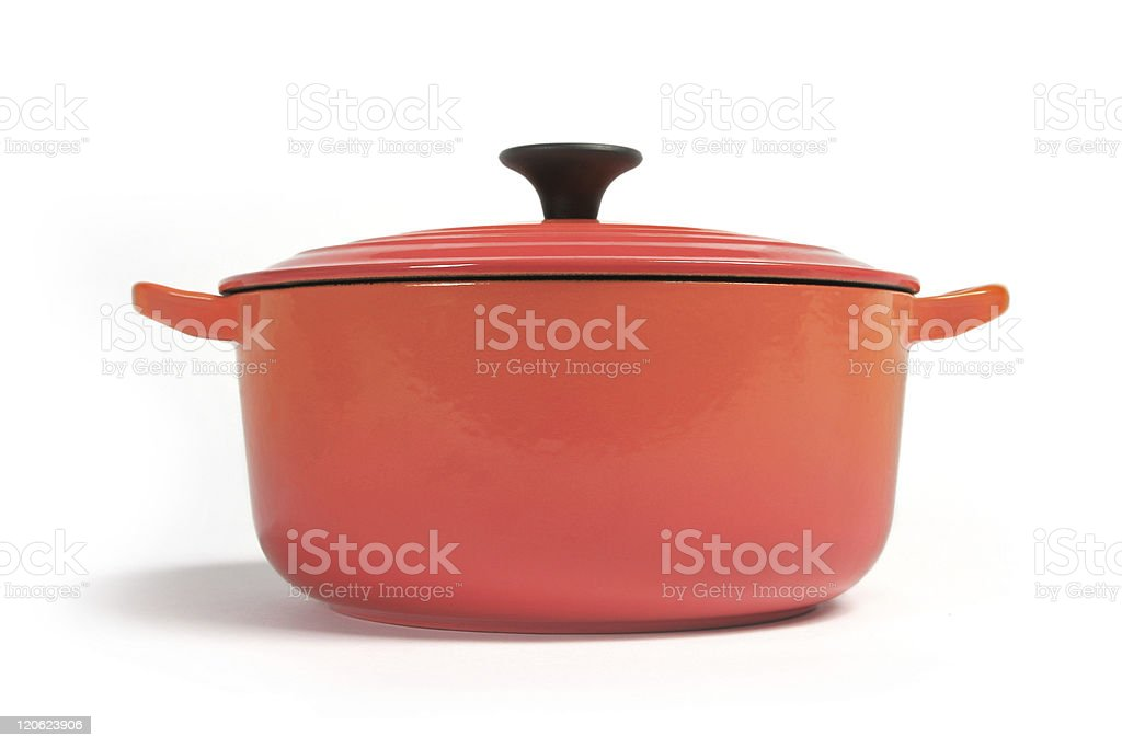 Cast iron cooking pot with lid, side view. stock photo