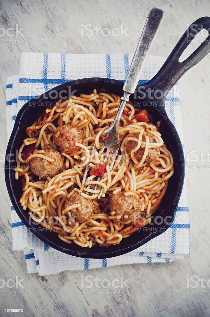 Cast iron skillet meal stock photo