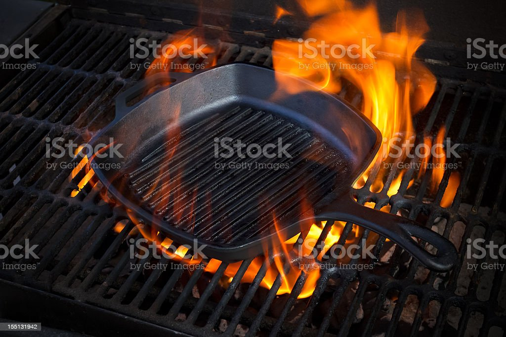 Cast Iron Skillet on Grill stock photo