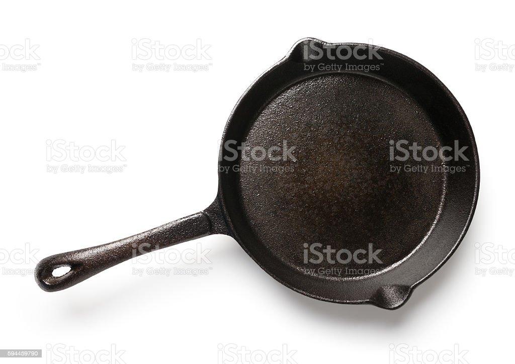 Cast iron skillet on white stock photo