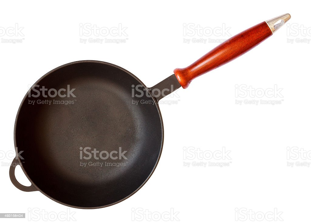 Cast iron skillet with wooden handle stock photo