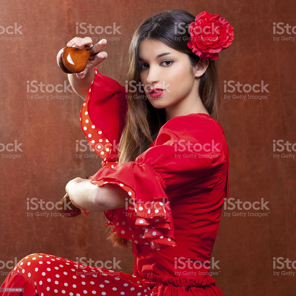 Castanets gipsy flamenco dancer Spain girl stock photo