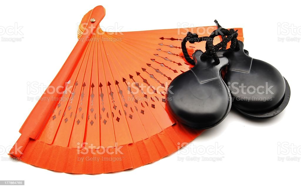 Castanets with fan stock photo