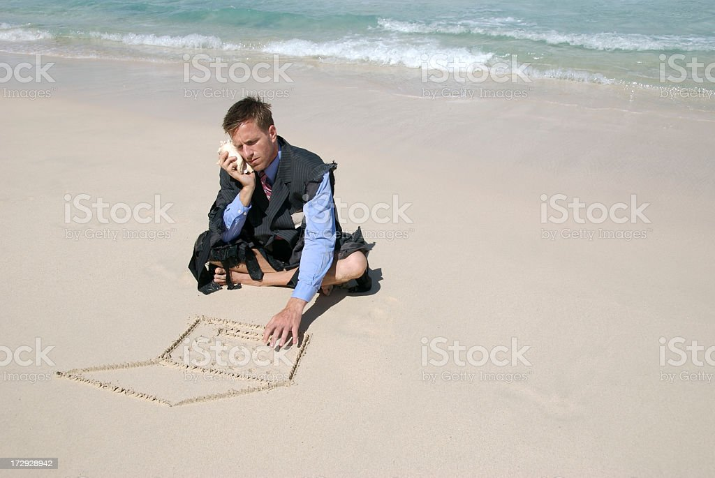 Castaway Businessman Multitasks stock photo
