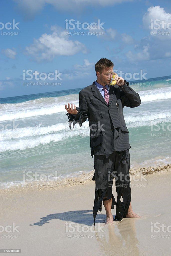 Castaway Businessman Talks on Banana Phone royalty-free stock photo