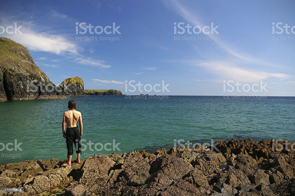 Castaway stranded on an island stock photo