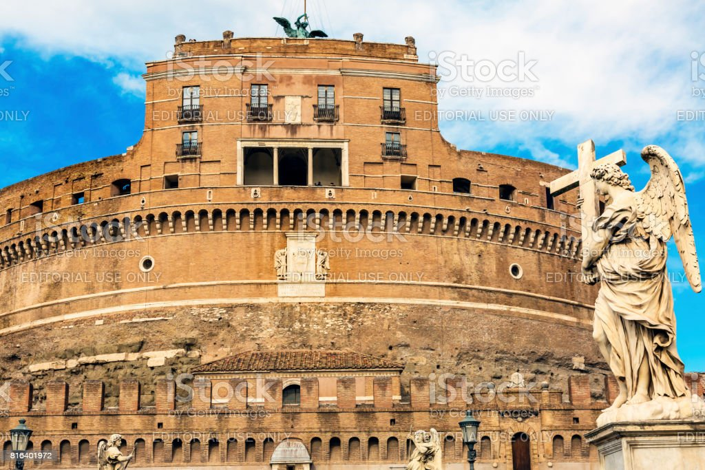 Castel Ponte Sant Angelo Vatican Castle Bernini Angel Rome Italy stock photo