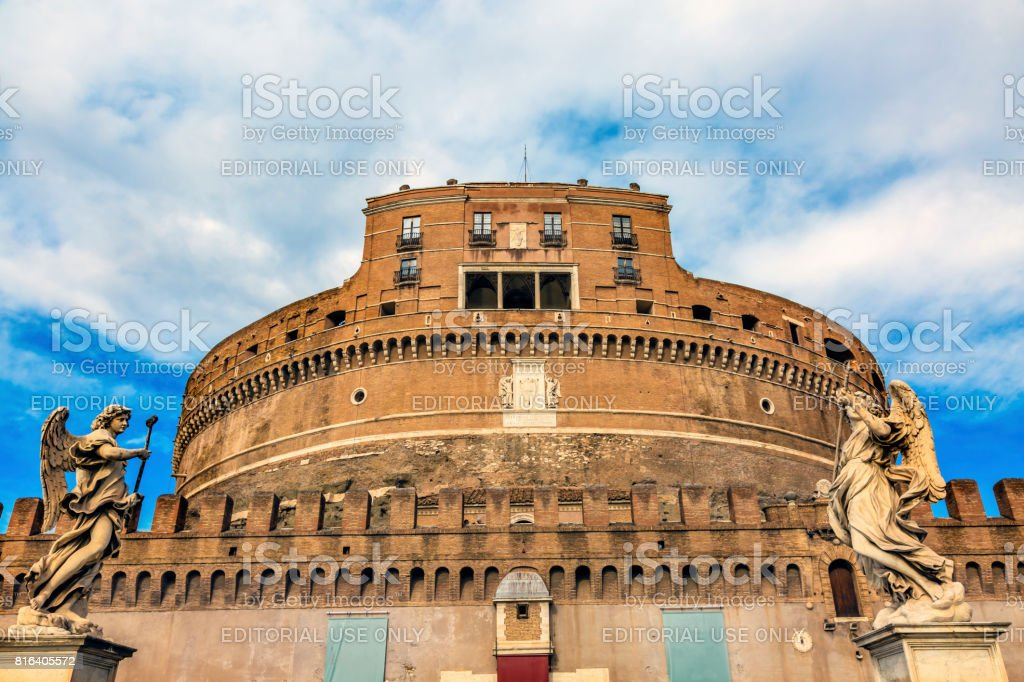Castel Ponte Sant Angelo Vatican Castle Bernini Angels Rome Italy stock photo