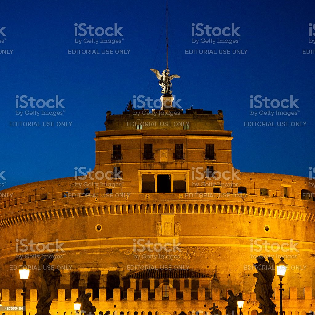 Castel Sant'Angelo at night in Rome, Italy stock photo