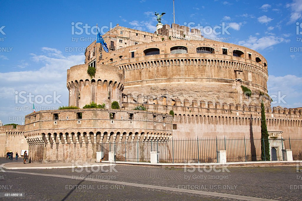 Castel Sant'Angelo Fortress, Mausoleum of Hadrian Castle in Rome, Italy stock photo