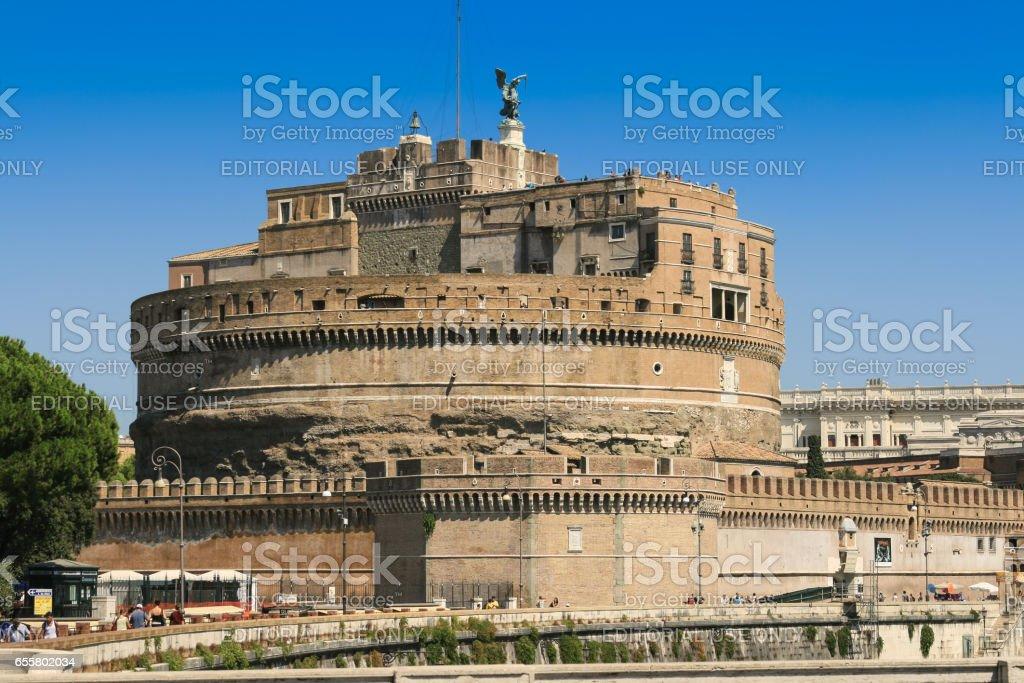 Castel Sant'Angelo from Ponte Vittorio Emanuele II, Rome, Italy. stock photo