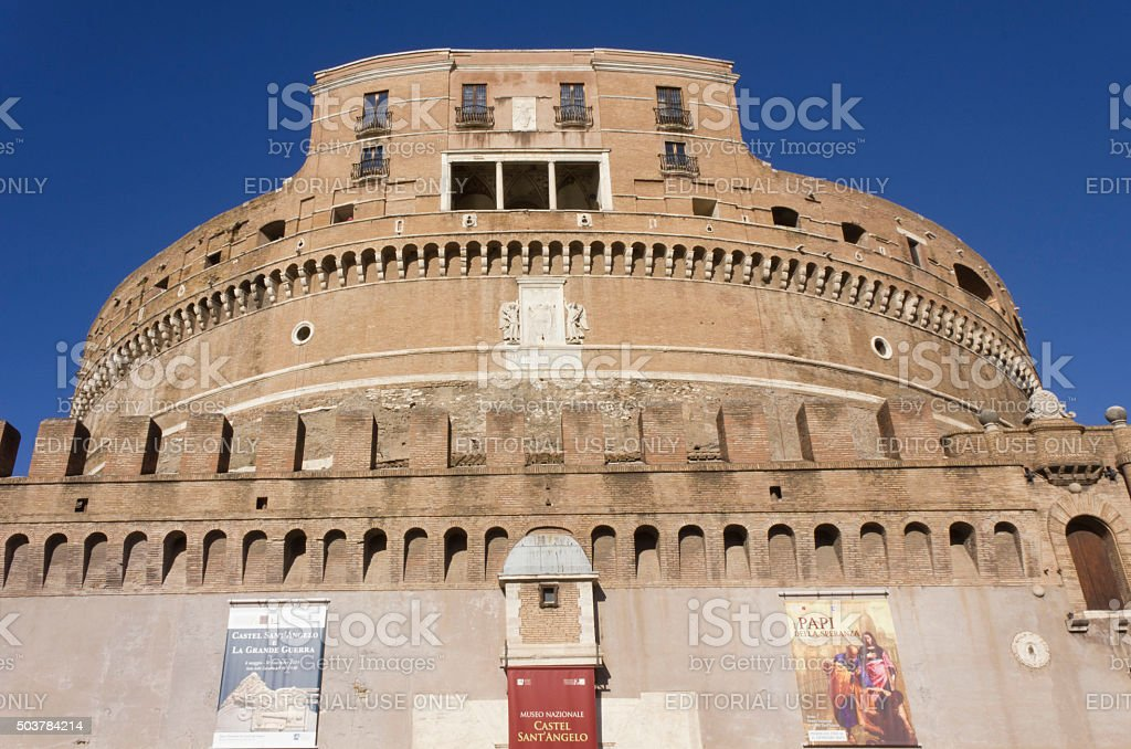 Castel Sant'Angelo frontal Facade in Rome stock photo