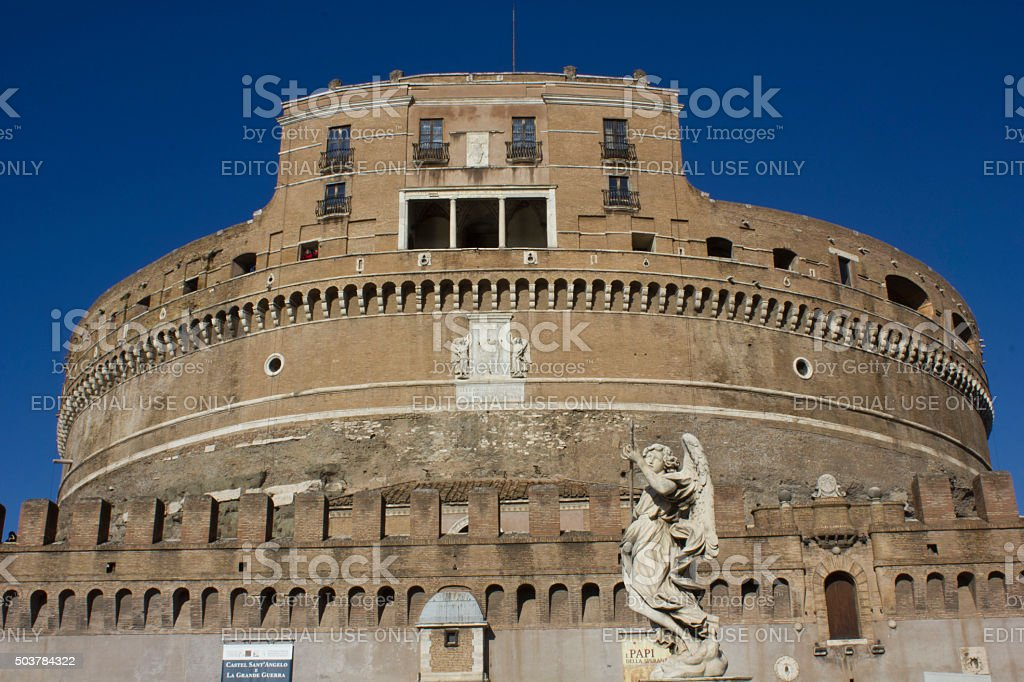 Castel Sant'Angelo frontal Facade in Rome with an angel statue stock photo