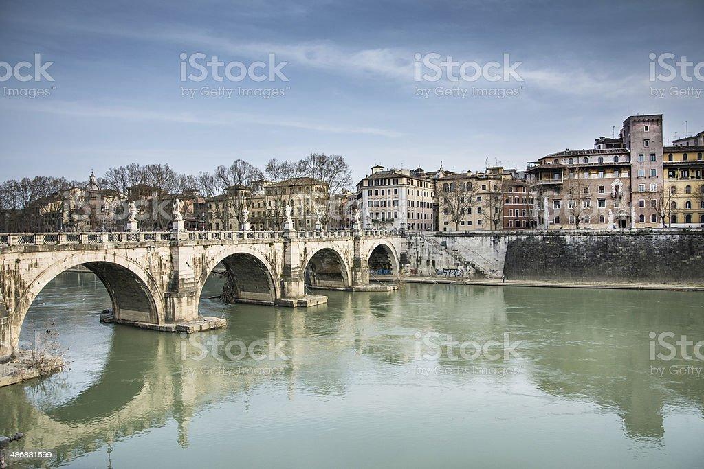 Castel sant'angelo's bridge stock photo