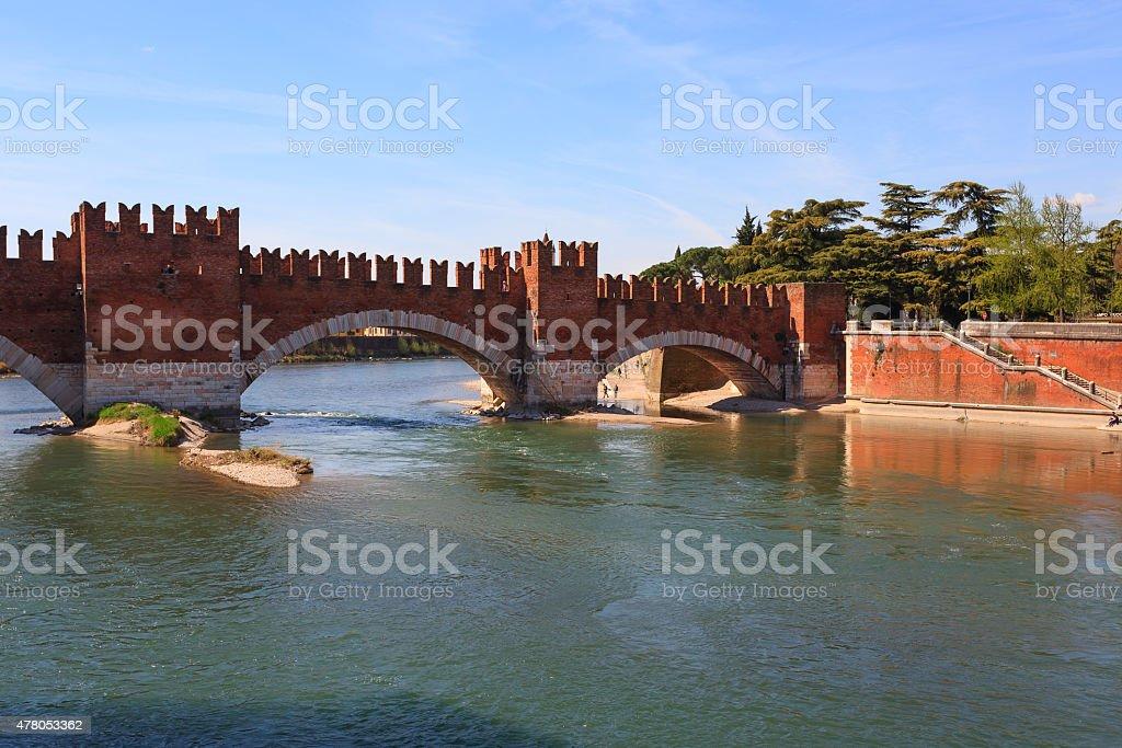 Castel Vecchio Bridge, Verona stock photo