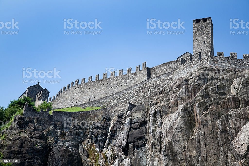 Castelgrande, one of Bellinzonas Castles, Unesco World Heritage in Switzerland royalty-free stock photo