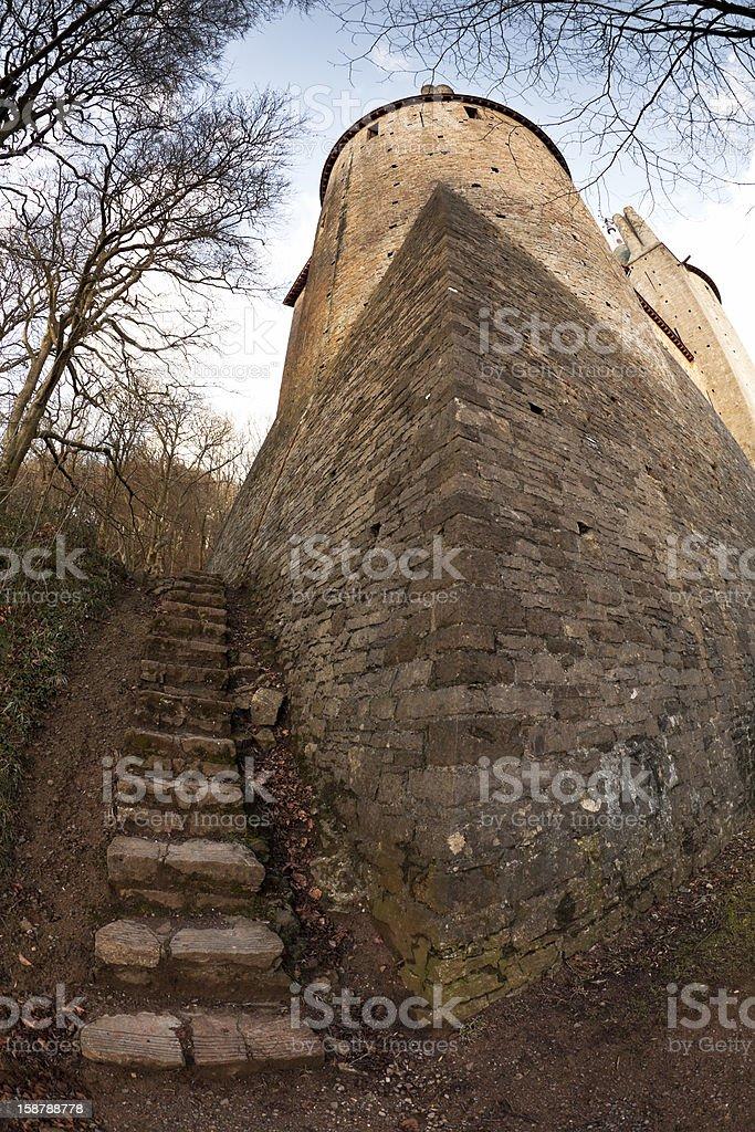 Castell Coch steps stock photo
