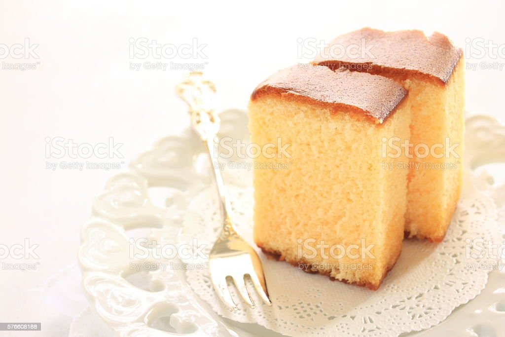 castella cake with fork stock photo