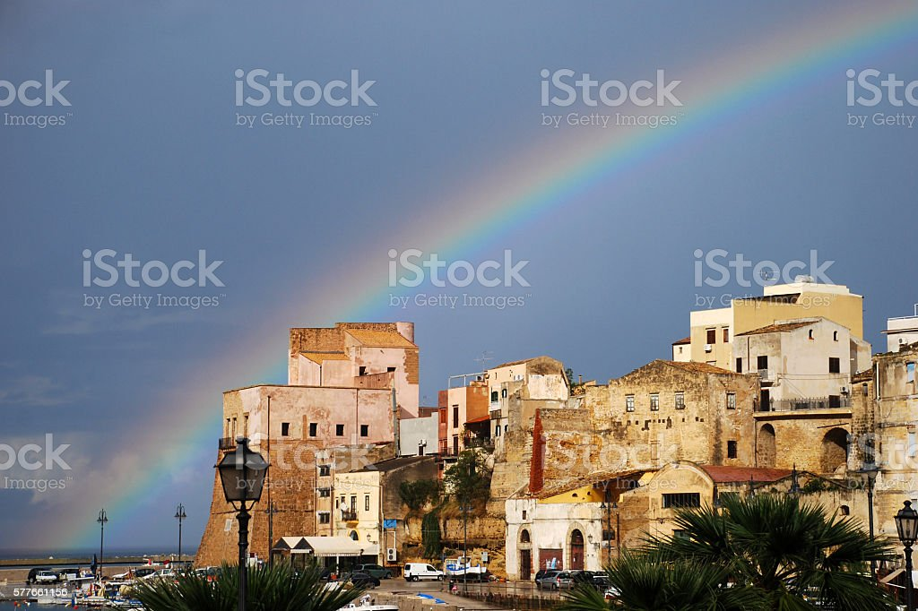 Castellamare del Golfo - Rainbow stock photo
