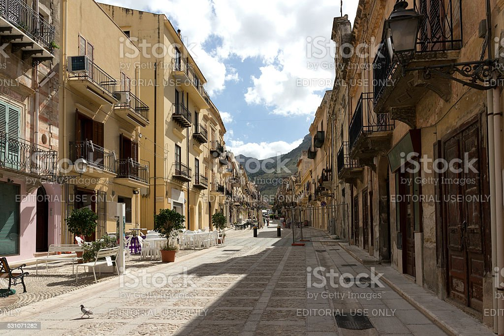 Castellammare del Golfo - historic center , Sicily stock photo