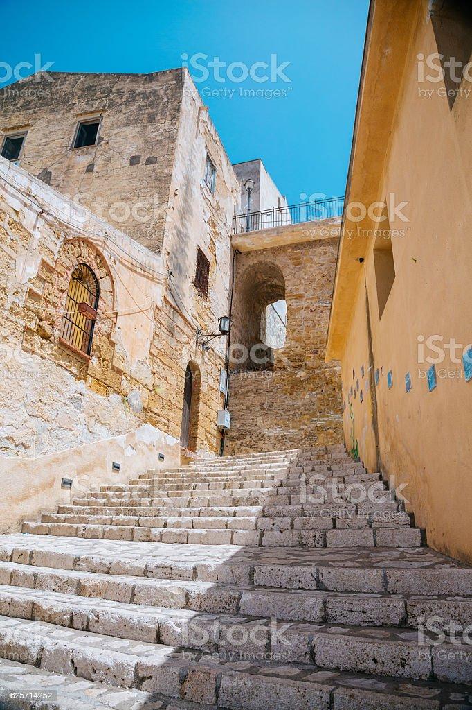 Castellammare del golfo narrow streets, Sicily stock photo