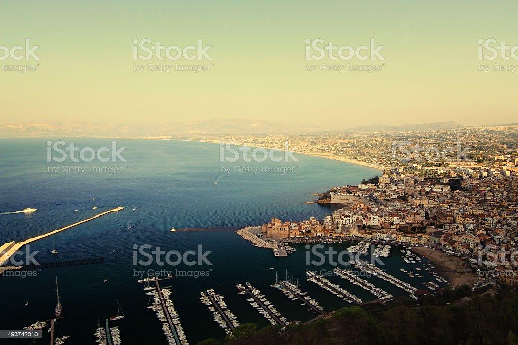 Castellammare del Golfo panorama stock photo