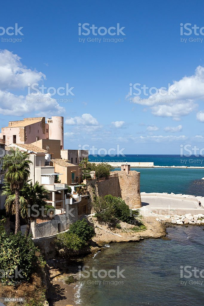 Castellammare del Golfo -Panoramic view on the medieval Castle, Sicily stock photo